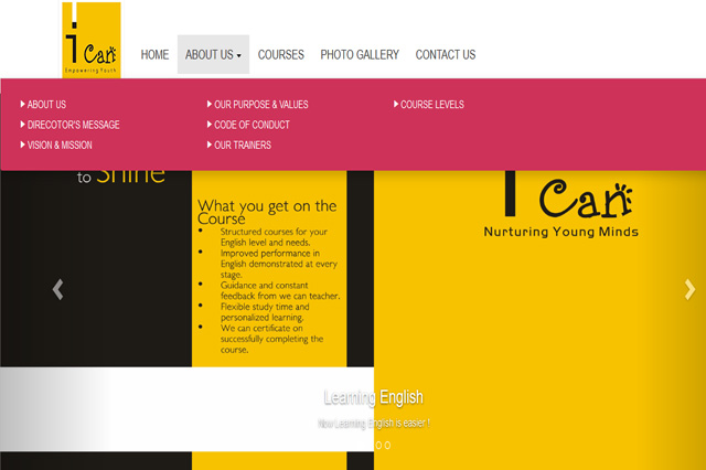 I Can Change English Speaking Institute Website